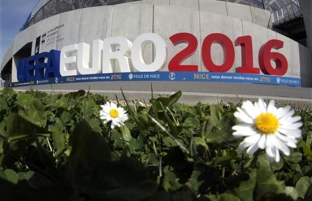 The sign announcing the UEFA Euro 2106 tournament is seen at the Allianz Riviera stadium.