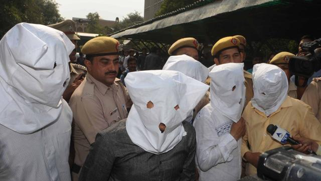 Some of the accused in the kidney racket busted at Delhi's Apollo Hospital.