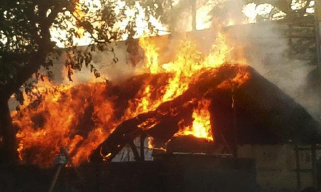 Houses set ablaze after clashes between the police and the encroachers who were being evicted from Jawahar Bagh in Mathura on Thursday.