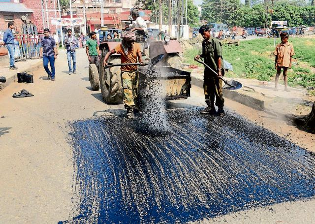 The PWD, as a pilot project, tarred a stretch of Kanak Chowk and Vikas Bhawan roads using plastic last September.