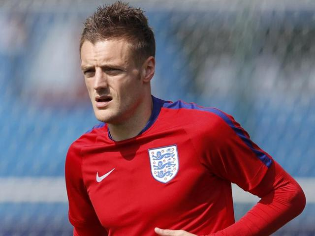 Jamie Vardy celebrates after scoring the second goal for England.