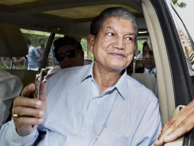 Uttarakhand chief minister Harish Rawat arrives at CBI headquarters for questioning in connection with the sting CD probe in New Delhi.