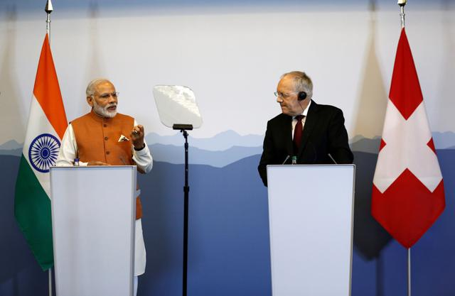 Indian Prime Minister Narendra Modi with Swiss President Johann Schneider-Ammann after their meetings in Geneva on Monday.