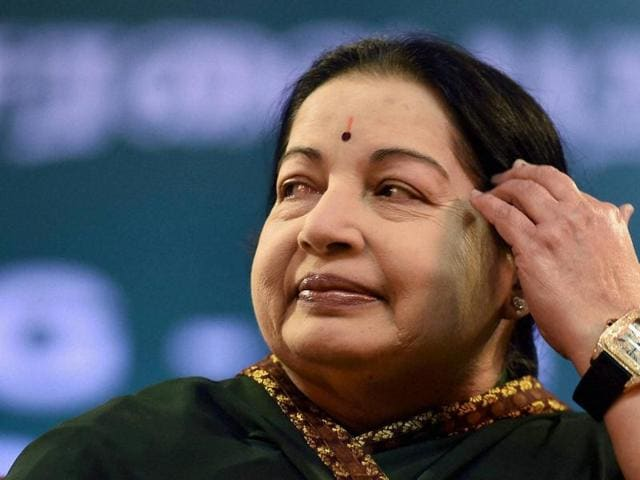AIADMK supremo J Jayalalithaa during her swearing in ceremony at Madras University Centenary Auditorium in Chennai.