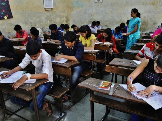 Students appear for their first SSC exam at Maharashtra Vidyalaya in Thane.