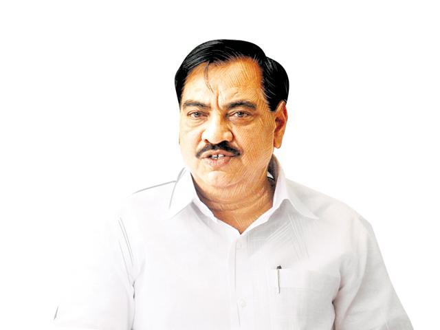 Eknath Khadse at a press conferance at his office at Nariman Point, Mumbai.