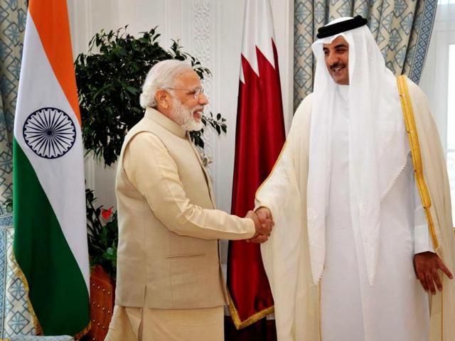 Prime Minister Narendra Modi and Emir of Qatar Sheikh Tamim bin Hamad Al-Thani during the delegation level talks at Emiri Diwan in Doha, Qatar.