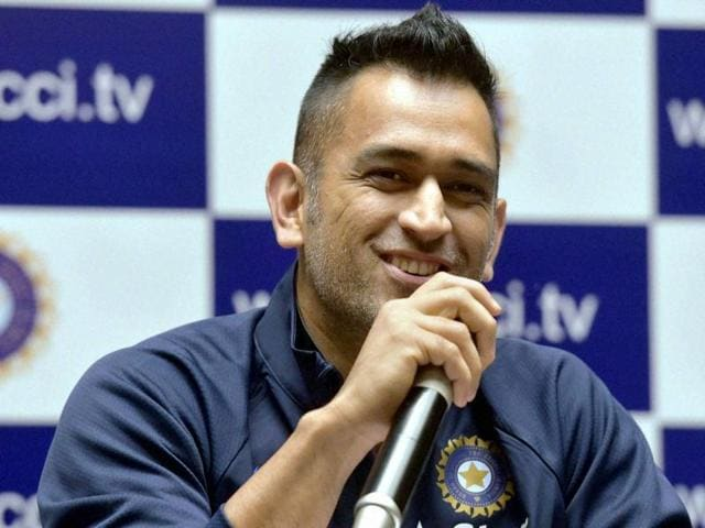 Indian skipper Mahendra Singh Dhoni speaks during a press conference for the Zimbabwe tour in Mumbai.