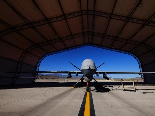 A US Air Force MQ-9 Reaper drone sits in a hanger at Creech Air Force Base May 19, 2016.