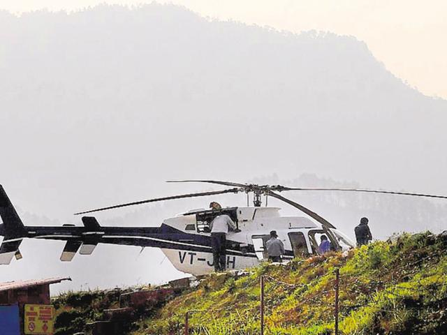 In this file photo, a chopper -- en route to Kedarnath shrine -- can be seen at a helipad near Phata in Uttarakhand's Rudraprayag district.
