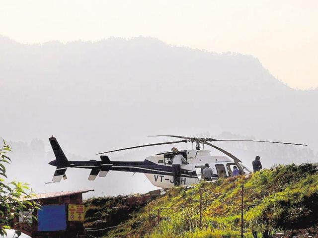 A helicopter at a helipad near Phata, en route to Kedarnath shrine, in Rudraprayag district.