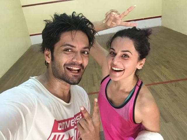Actor Taapsee Pannu and Ali Fazal are bonding on the  sets of their new film.