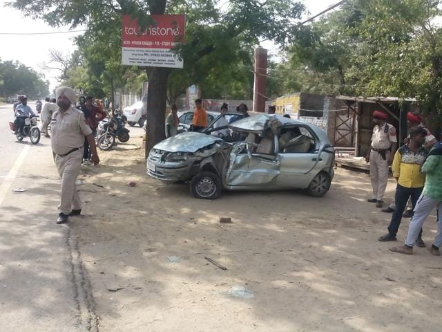 The Indica car that collided with private bus on the Jalandhar-Chandigarh national highway in SBS Nagar (Nawanshahr).