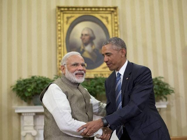 PM Narendra Modi and US President Barack Obama at the Oval Office of the White House in Washington.