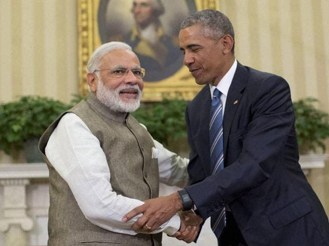 US President Barack Obama with Prime Minister Narendra Modi in the Oval Office at the White House in Washington, June 7.