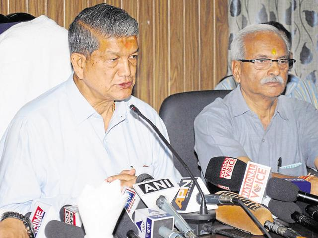 Chief minister Harish Rawat addresses a press conference in Dehradun on Wednesday, a day after he was questioned by the CBI in Delhi.