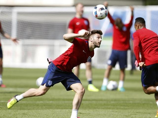 England's Adam Lallana training at Stade des Bourgognes in France.