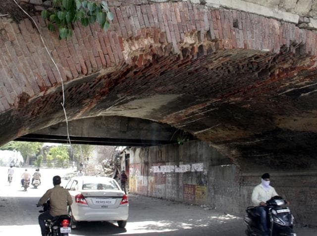 The damaged portion of the bridge over Buddha Nullah near Chand Cinema on the Old GT Road in Ludhiana.