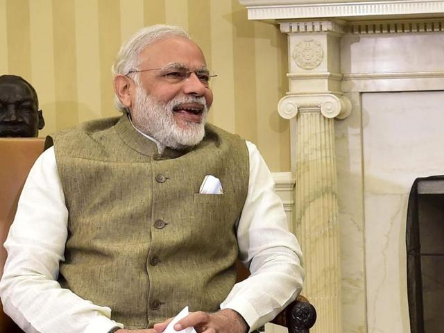Washington : President Barack Obama and Indian Prime Minister India Narendra Modi shake hands in the Oval Office of the White House.