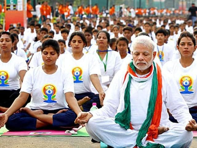 Prime Minister Narendra Modi performed yoga along with thousands of people at New Delhi's  Rajpath to mark the International Day of Yoga in June, 2015.