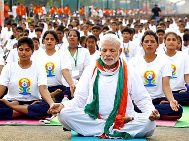File photo of Prime Minister Narendra Modi on the International Yoga Day.(Ajay Aggarwal/HT File Photo)