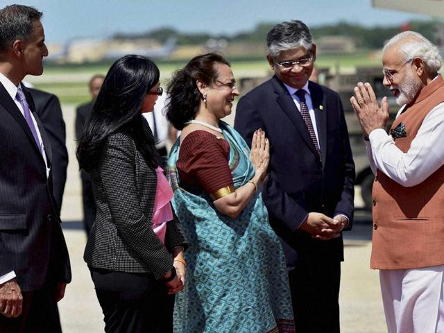 Prime Minister Narendra Modi is greeted on his arrival at Joint Base Andrews in Washington DC on Tuesday.