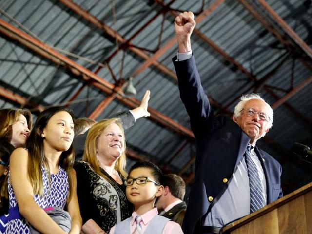 US Democratic presidential candidate Bernie Sanders addresses supporters following the closing of the polls in the California presidential primary in Santa Monica, California, US, June 7, 2016.