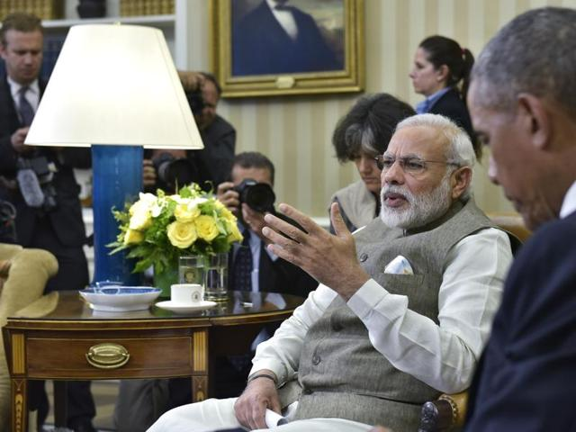 Prime Minister Narendra Modi speaks during a bilateral meeting in the Oval Office with US President Barack Obama at the White House.