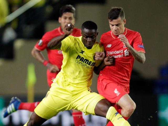 Villarreal's Eric Bailly (left) duels for the ball with Sparta Praha's Ladislav Krejci during their Europa League quarterfinal match at the Madrigal stadium in Villarreal, Spain.