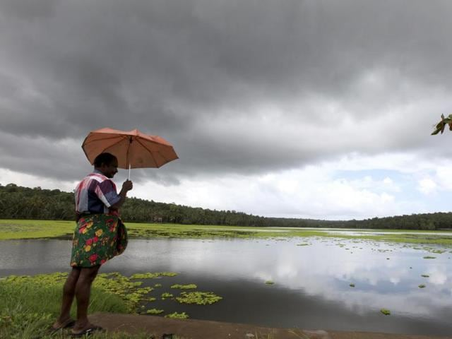 Dark clouds and monsoon rains intensify over many places in Thiruvananthapuram Photo By Vivek R Nair / Hindustan Times