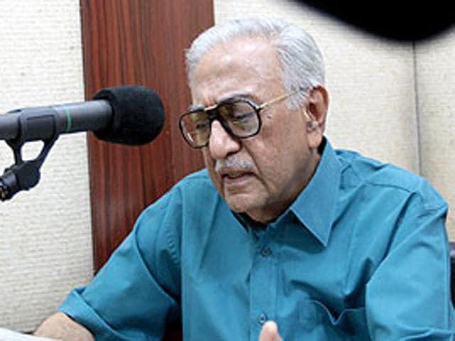 Veteran Radio presenter Ameen Sayani at his Recording Studio in Colaba in Mumbai.