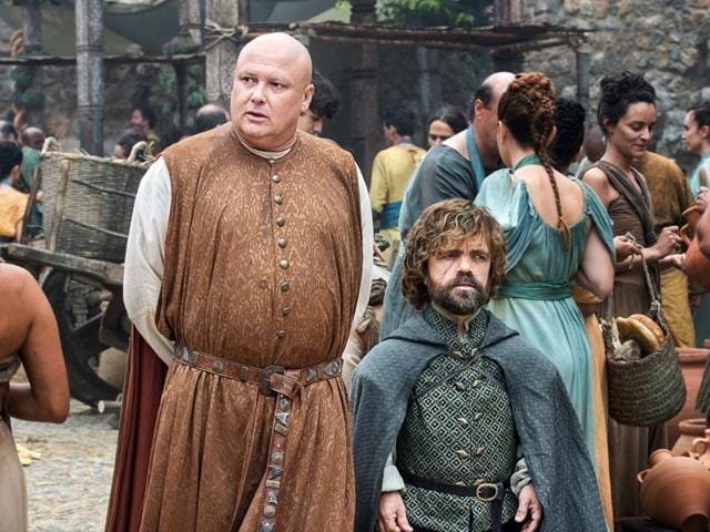 Varys and Tryrion in a still from the upcoming episode eight of the season.