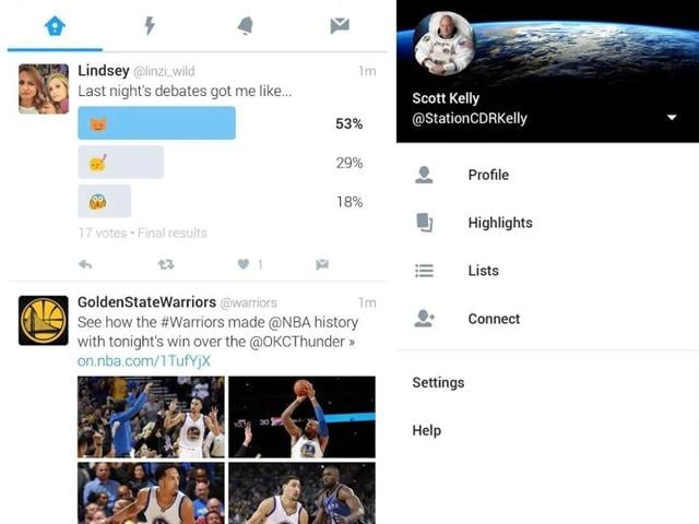 The app is now split into four tabs -- Home, Moments, Notifications and Messages