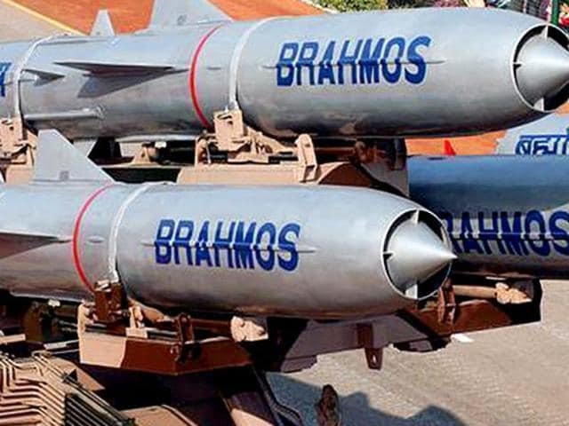 BrahMos missiles on display during the Republic Day parade.