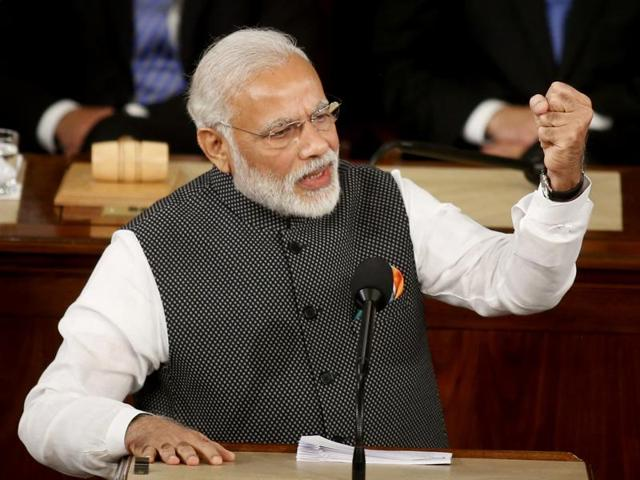 Prime Minister Narendra Modi addresses a joint meeting of Congress on Capitol Hill in Washington, Wednesday.