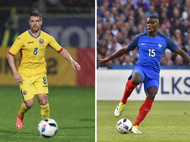 A composite of France's Paul Pogba (R) and Romania's Mihai Doru Pintilii in Bucharest on March 23, 2016. France face Romania in the opening match of Euro 2016 at the Stade de France in Saint-Denis, north of Paris, on June 10, 2016.