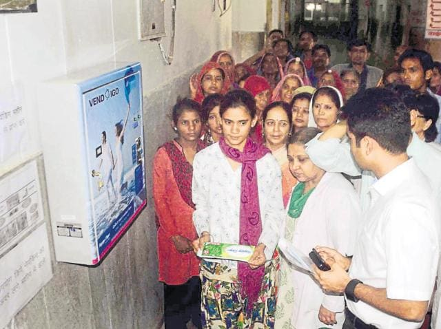 Ajmer collector Gaurav Goyal at the installation of automated sanitary pad vending machine at  Zanana (women's) Hospital  on Wednesday.