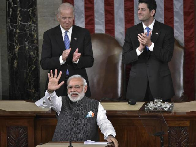 Indian Prime Minister Narendra Modi greets members of Congress after addressing a joint session of the United States Congress at the US Capitol, June 8, 2016 in Washington, DC.