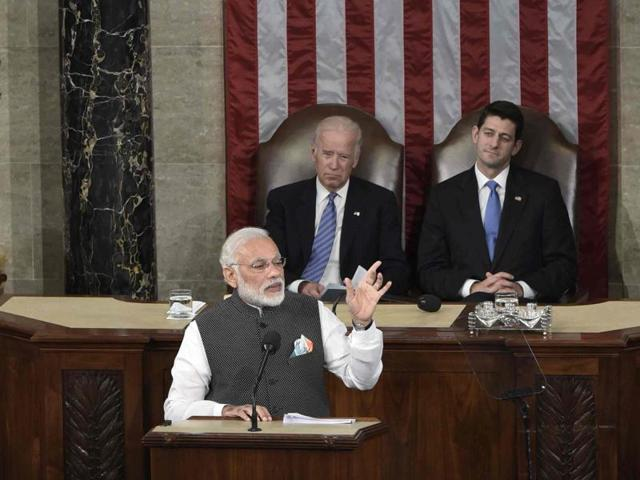 PMModi addresses a joint meeting of Congress at the US Capitol in Washington DC on Wednesday. Human rights activists have asked that the deterioration of human rights and religious freedombe made a part of the US' dialogue with India.