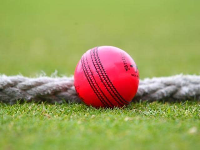 Former India batsman VVS Laxman and former Australia batsman Dean Jones display the pink ball ahead of the first day-night game in whites using the ball at the Eden Gardens.