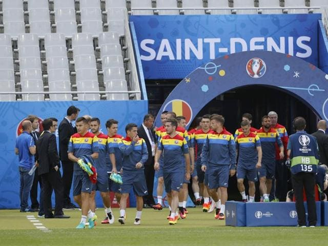 Romania's players enter the pitch for a training session  at Stade de France, Paris.