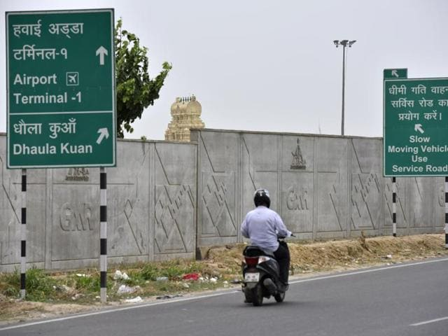The under-construction wall near the Terminal-3 at IGI Airport in New Delhi.