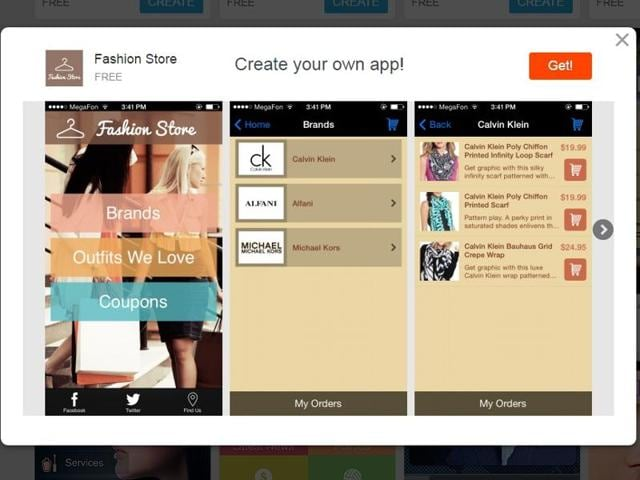 The websites allow you to customise every bit of the app, from the theme, pages, layout to the social media profile.