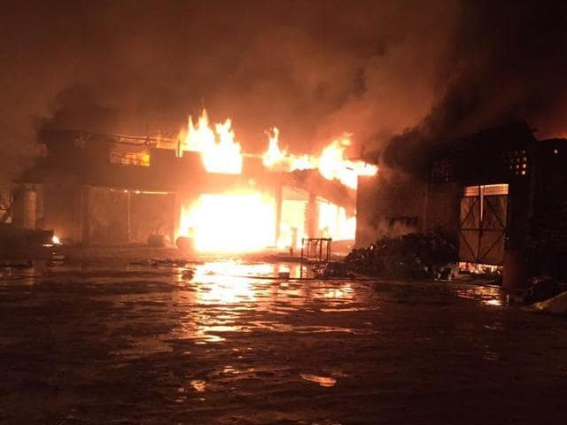 A major fire at a paint manufacturing unit in Kangniwal village in Jalandhar on Friday.