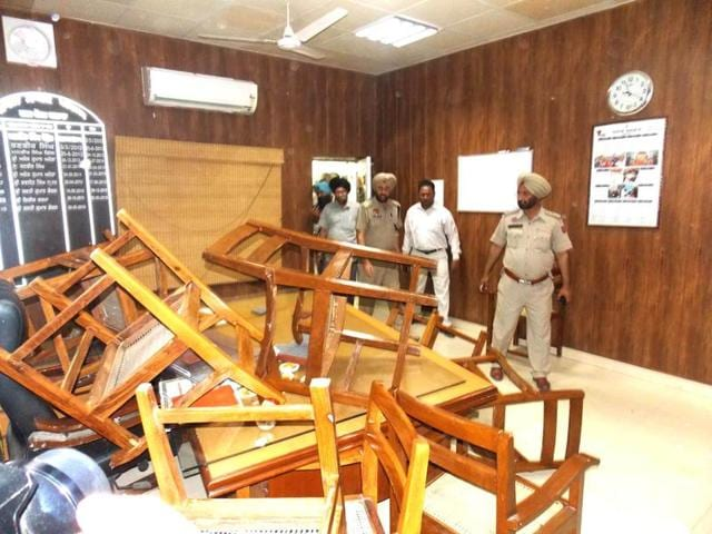 The ransacked office of the Barnala municipal corporation executive officer.