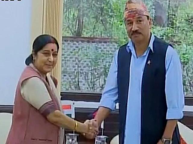 External affairs minister Sushma Swaraj meets Nepal deputy PM Kamal Thapa in New Delhi on Friday.