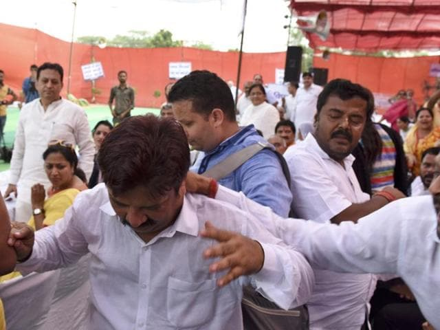 AAP councillor Rakesh Kumar was beaten up at a joint session of the municipal corporations on Thursday.