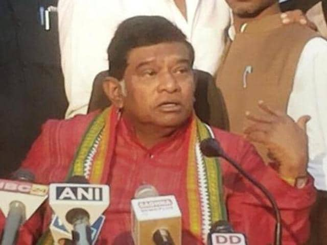 Former chief minister of Chhatisgarh Ajit Jogi addresses a press conference in Raipur.