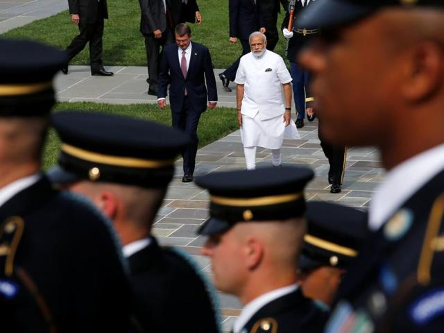 Prime Minister Narendra Modi is accompanied by US defense secretary Ash Carter in Arlington National Cemetery in Arlington, US.