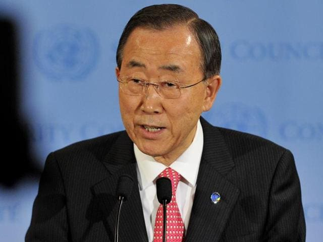 This March 24, 2011, file photo shows United Nations Secretary General Ban Ki-moon speaking after a Security Council meeting at United Nations headquarters in New York.